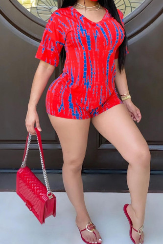 Red Polyester Fashion Casual adult Ma'am Print Two Piece Suits pencil Short Sleeve Two Pieces