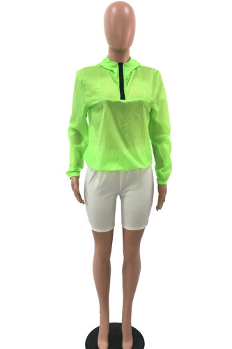 Green Polyester hooded Long Sleeve Zippered Solid rash guards FS34021