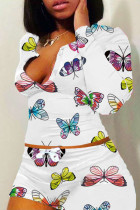 White Polyester Sweet Animal Prints Print Straight Long Sleeve Two Pieces