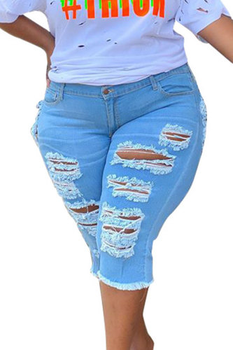 Light Blue Denim Fashion Casual adult Patchwork Solid Hole Old washing Zippered HOLLOWED OUT Stitching Plus Size