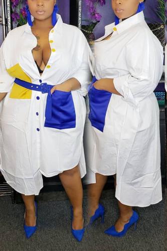 White Polyester OL Patchwork Belt Stitching Plus Size