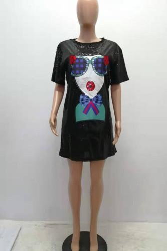 Black Polyester Casual lantern sleeve Half Sleeves O neck Lantern skirt skirt Sequin Print Patchwork Print Dresses YS521210