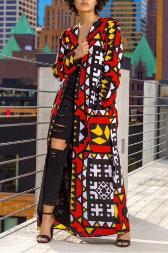 Red V Neck Print Polyester Print Long Sleeve Outerwear