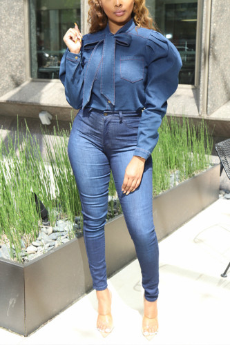 Blue Denim Mandarin Collar Long Sleeve Solid Bandage TOPS