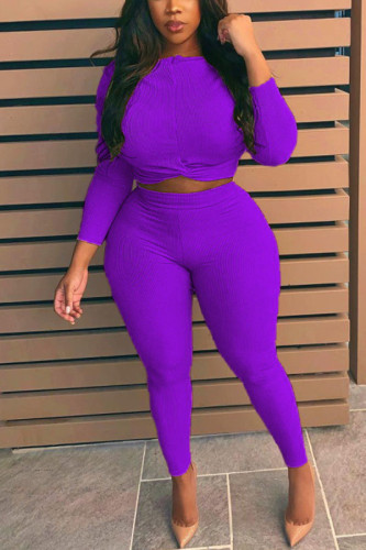 purple Polyester Fashion Casual adult Ma'am O Neck Solid Two Piece Suits Stitching Plus Size