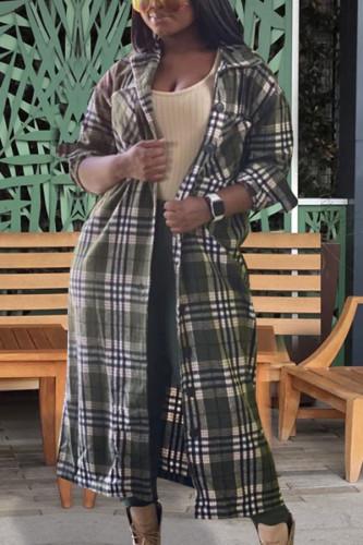 Light Green Fashion Casual Adult Ponte Plaid Shirt Collar Outerwear