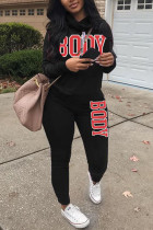 Black Casual Street Sportswear Polyester Twilled Satin Letter Patchwork Print Solid Split Joint Pullovers Pants Turtleneck Long Sleeve Regular Sleeve Regular Two Pieces