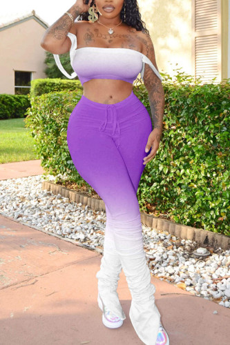 purple Polyester Sexy Split Draped Gradient Boot Cut Sleeveless Two Pieces