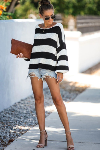 Black and white knitting O Neck Long Sleeve Patchwork Striped Sweaters & Cardigans OS411280