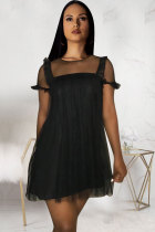 Black Polyester Fashion Sexy Cap Sleeve Short Sleeves O neck Princess Dress skirt Solid Patchwork Mesh per