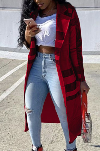 Red Fashion Sexy Adult Polyester Plaid Print Split Joint Turndown Collar Outerwear