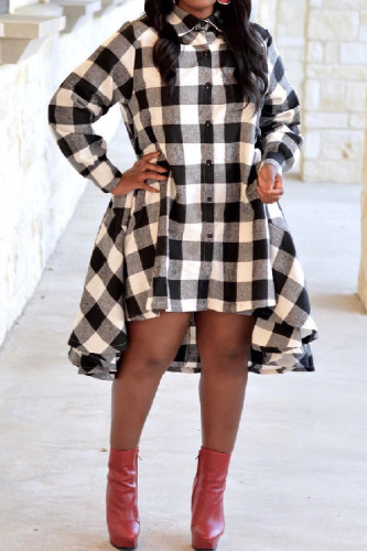 Red Sexy Fashion Off The Shoulder Long Sleeves Turtleneck Asymmetrical Knee-Length Plaid Patchwork Print Dresses CQ71185
