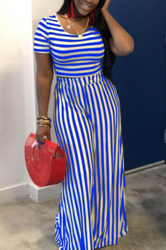 Gold Milk Silk Fashion adult Ma'am Street Striped Solid Two Piece Suits Loose Short Sleeve Two Pieces