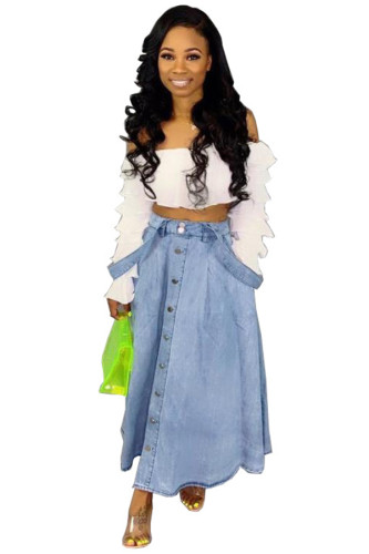 Blue Denim Bib pants Sleeveless High Patchwork Solid A-line skirt Pants Skirts HF123073