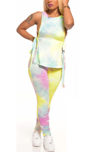 colour Milk Silk Fashion adult Ma'am Street Tie Dye Two Piece Suits pencil Sleeveless Two Pieces