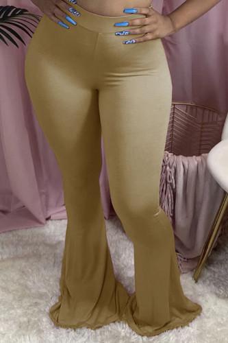 Khaki Cotton Fashion Sexy adult Ma'am Solid Plus Size