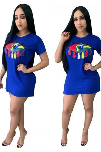 Blue Polyester Fashion Sexy Cap Sleeve Short Sleeves O neck Step Skirt Mini Patchwork Print Print Dresses WS97150