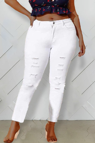 White Denim Fashion Casual adult Ma'am Hole Plus Size