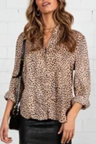 Apricot Silk cardigan Long Sleeve Leopard Print Button TOPS
