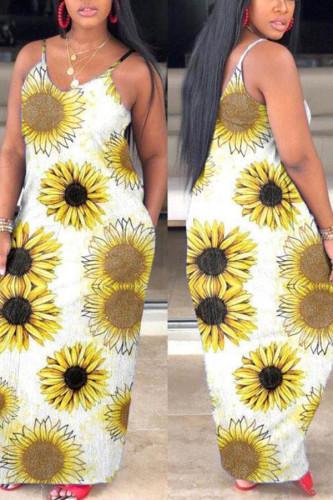 Yellow Casual Spaghetti Strap Sleeveless Slip Pencil Dress Floor-Length Print Animal Dresses