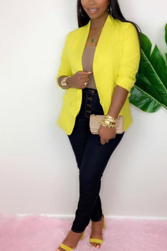 Yellow Notched Solid Polyester Pure Long Sleeve Outerwear