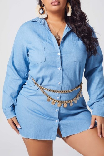 Light Blue Denim Fashion Work Turndown Collar Solid Plus Size