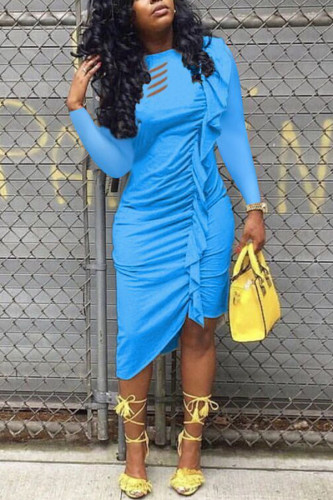 Gold Cotton Fashion Sexy adult Ma'am Cap Sleeve Long Sleeves O neck Asymmetrical Mid-Calf stringy selvedge Solid Dresses