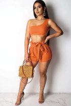 Orange Polyester Sexy Fashion HOLLOWED OUT Print asymmetrical Patchwork Straight Two-Piece Short Set FN231184