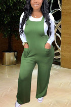 Green Fashion Casual Street Polyester Twilled Satin Solid Pullovers Pants O Neck Long Sleeve Regular Sleeve Regular Two Pieces