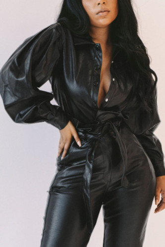 Black Fashion Street Adult Faux Leather Solid Turndown Collar Outerwear