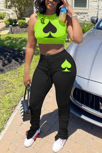Green Polyester Fashion adult Ma'am Street Letter Print Two Piece Suits pencil Sleeveless Two Pieces