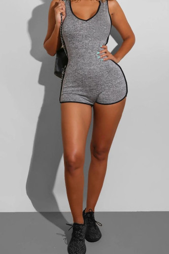 Grey Sexy Solid Cotton Sleeveless Slip Jumpsuits