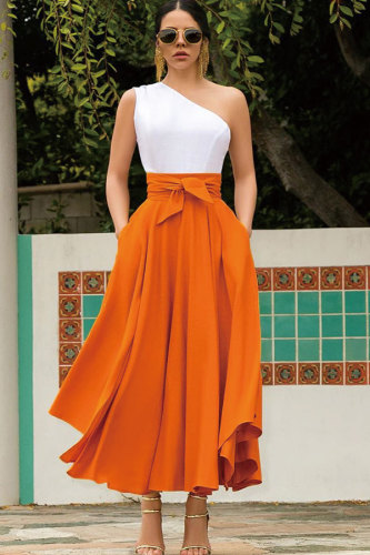 Red Polyester Zipper Fly High Solid Asymmetrical Patchwork A-line skirt Skirts LQ28053