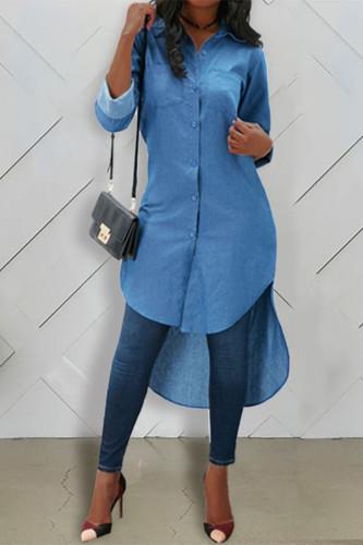 Dark Blue Cotton Turndown Collar Long Sleeve Solid TOPS