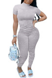 White Fashion Casual Solid Draped Polyester Short Sleeve O Neck Jumpsuits