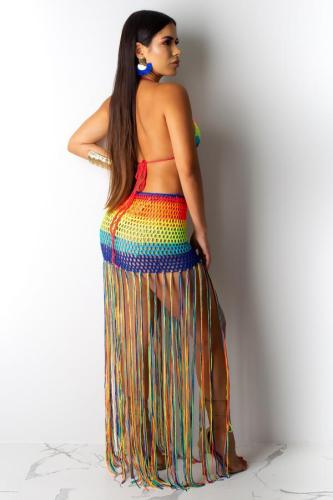Rainbow color Polyester backless Knit Tassel bandage Hooded Out Tankinis Set ZS571195