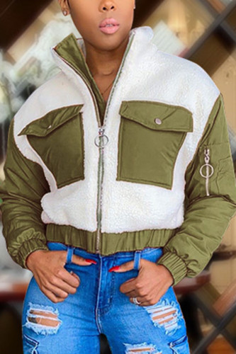 Green Fashion Casual Adult Polyester Patchwork Split Joint Mandarin Collar Outerwear