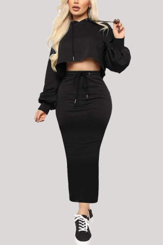 Black Fashion Sportswear Adult Polyester Solid Draw String Hooded Collar Long Sleeve Regular Sleeve Short Two Pieces
