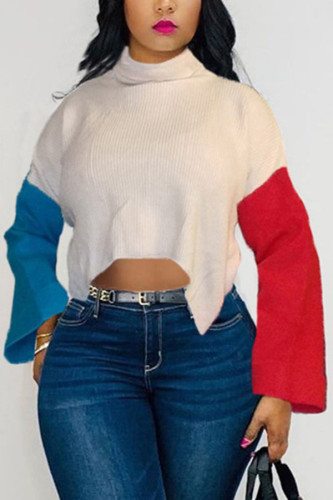 White knitting Turtleneck Long Sleeve Patchwork contrast color TOPS