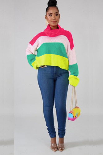 rose red Polyester O Neck Long Sleeve Patchwork contrast color Sweaters & Cardigans YZ031215