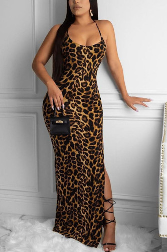 Brown Milk. Fashion Sexy adult Ma'am Off The Shoulder Sleeveless Slip Step Skirt Floor-Length Leopard backless Dresses
