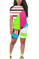 Fluorescent green Polyester Fashion Casual Patchwork Print Two Piece Suits pencil Short Sleeve Two Pieces