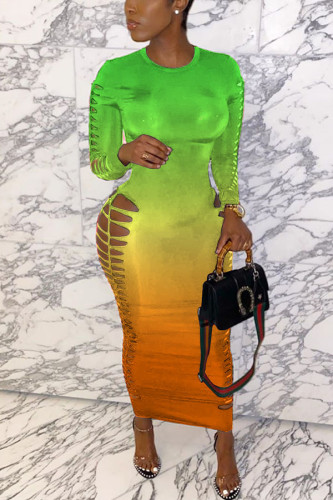 Green Milk. Fashion adult Ma'am Street Cap Sleeve Long Sleeves O neck Pencil Dress Ankle-Length Ombre Dresses