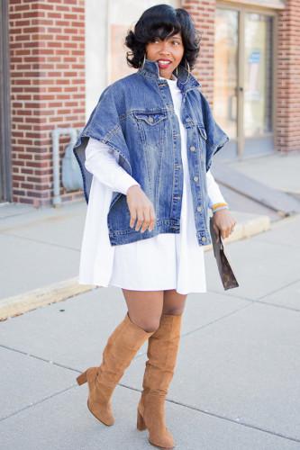 Blue cardigan asymmetrical Solid Patchwork The cowboy Pure Short Sleeve Denim jacket WN501285