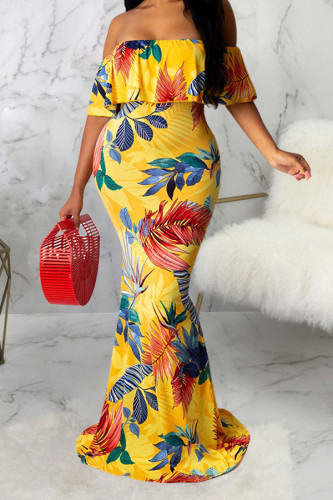 Yellow Sexy Off The Shoulder Short Sleeves One word collar Swagger Floor-Length Print Dresses