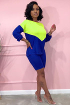 Blue Polyester adult Sexy Fashion Solid contrast color Patchwork Two Piece Suits pencil Long Sleeve Two-Piece Short Set ZL98089