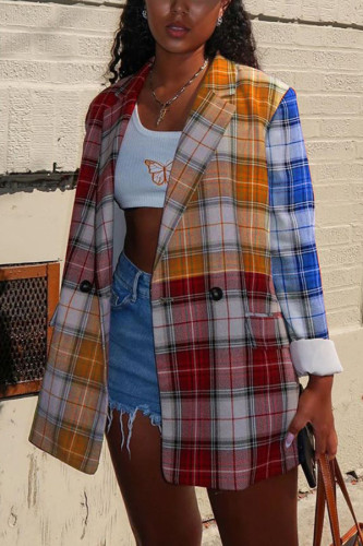 tangerine Casual Polyester Spandex Plaid Patchwork Split Joint Buttons Cardigan Turn-back Collar Outerwear