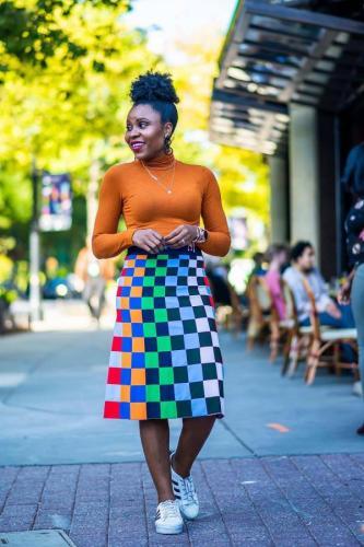 As Show Polyester Drawstring High Plaid A-line skirt Capris Skirts FS34016