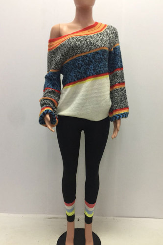 Multi-color Arylic One Shoulder Collar Long Sleeve Patchwork YS52245