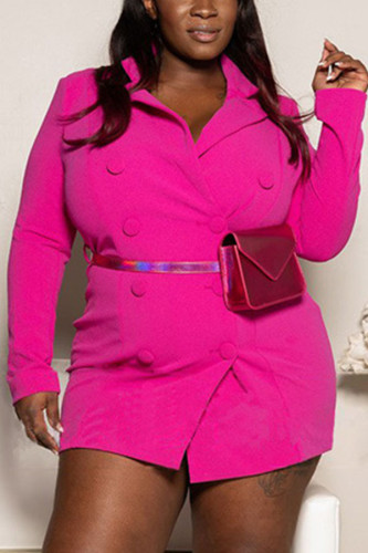 rose red Polyester Fashion adult Ma'am OL Notched Solid Button Plus Size